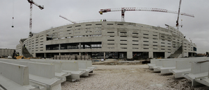 Vista panorámica del exterior del fondo sur del Nuevo Estadio