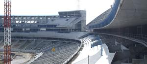 Nuevo estadio. Avance de las gradas en la grada alta del fondo sur