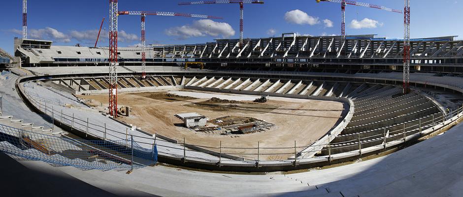 Nuevo estadio. Panorámica general desde el córner suroeste