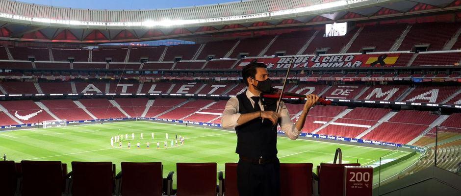 Temp 19/20 | Atlético de Madrid - Valladolid | Homenaje víctimas Covid-19 | Violinista