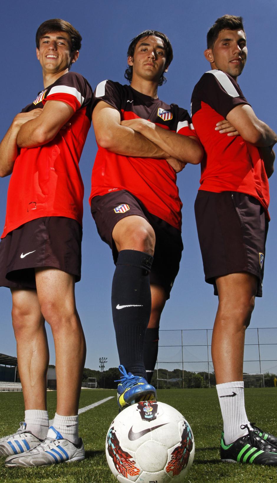 Borja Paris, Borja Martínez y Carlos Ramos posan para la web en un reportaje antes de la semifinal de Copa Juvenil contra el Athletic