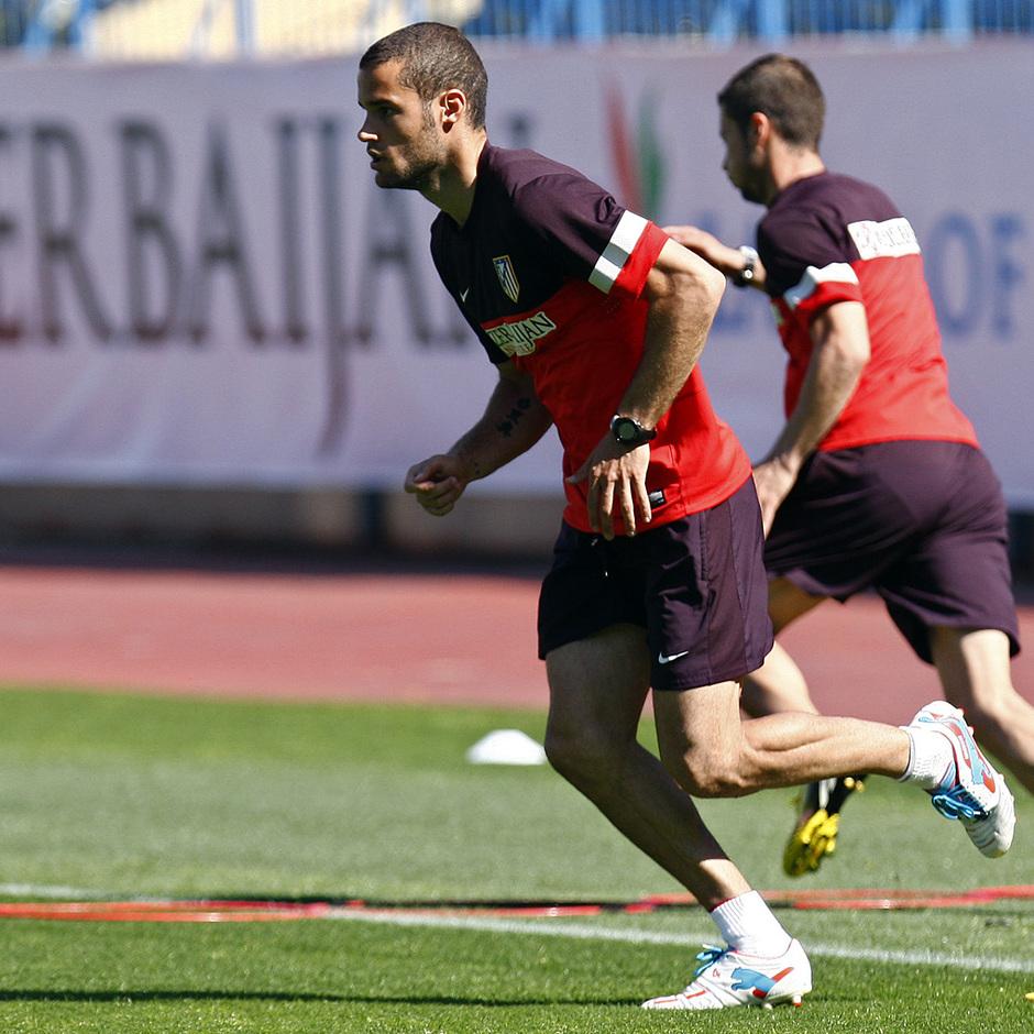 Temporada 12/13. Entrenamiento Mario corriendo durante el entrenamiento en el estadio Vicente Calderón