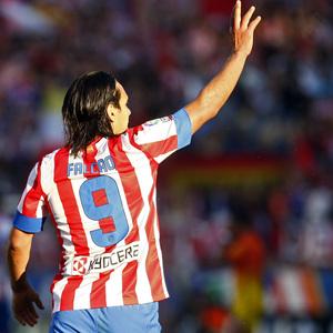 Temporada 12/13. Partido Atlético de Madrid - Barcelona. Celebración gol de Falcao