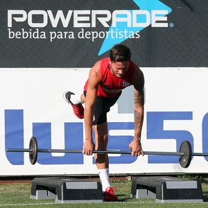 temporada 17/18. Entrenamiento en la ciudad deportiva Wanda. Saúl realizando ejercicios físicos durante el entrenamiento