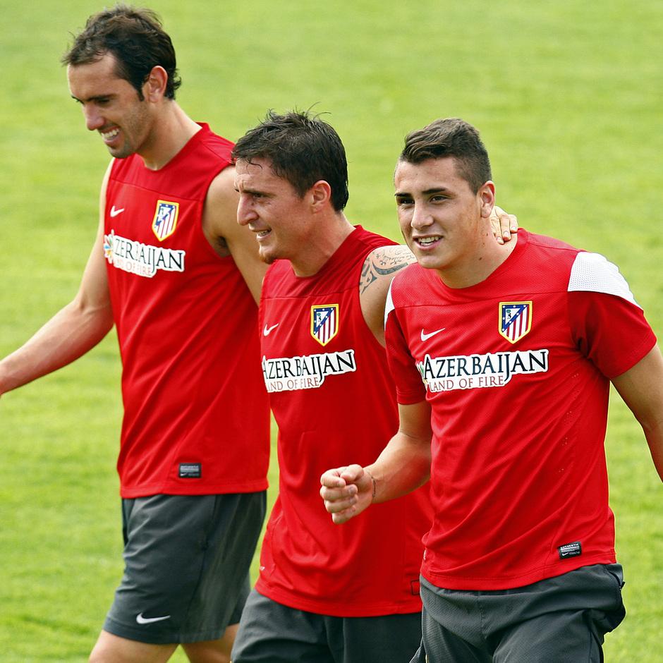 Godín, Cristian Rodríguez y Giménez, durante el entrenamiento del miércoles 7 de agosto en la Ciudad Deportiva