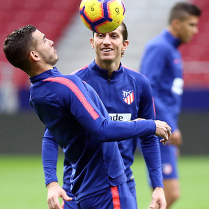 temporada 18/19. Entrenamiento en el Wanda Metropolitano. Filipe y Lucas durante el entrenamiento