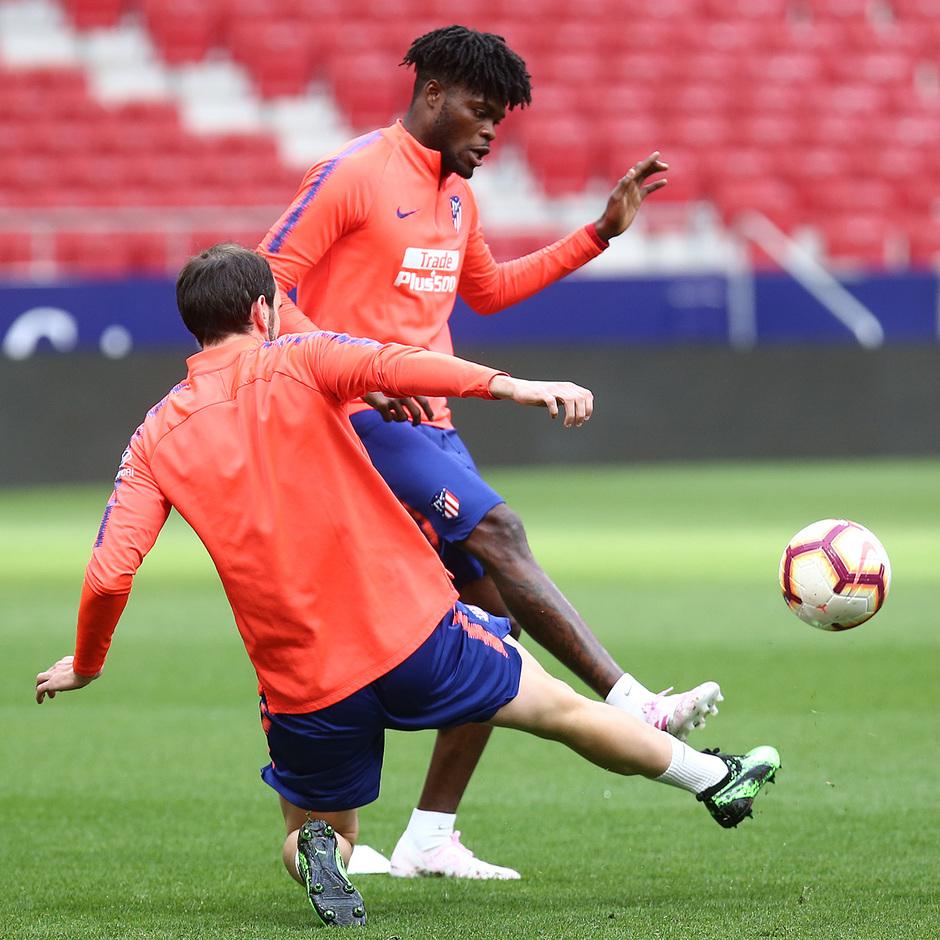 Temporada 18/19. Entrenamiento en el Wanda Metropolitano. Thomas durante el entrenamiento.