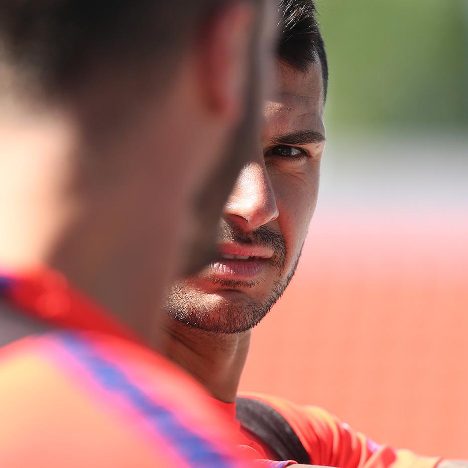 Temporada 18/19. Entrenamiento en la ciudad deportiva Wanda. Vitolo durante el entrenamiento.