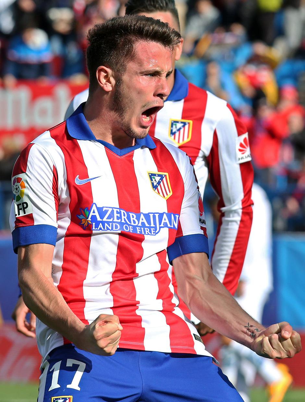 Temporada 14-15. Jornada 13. Atlético de Madrid-Deportivo. El canterano Saúl celebra con rabia su gol.