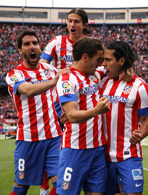 Temporada 12/13. Partido Atlético de Madrid Real Madrid.Celebración de gol