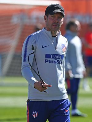 Temporada 18/19. Entrenamiento en la ciudad deportiva Wanda. Simeone durante el entrenamiento.