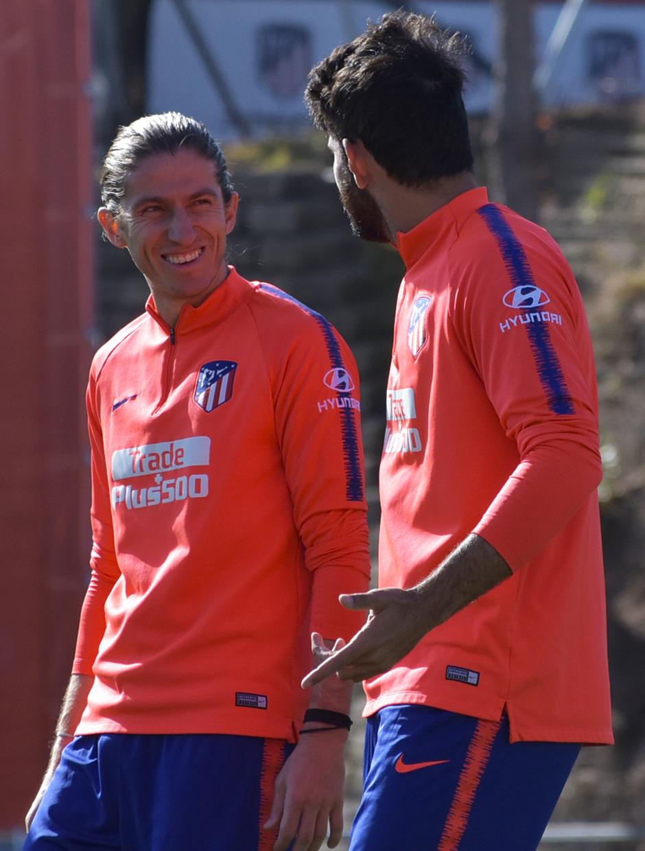 Temporada 18/19. Entrenamiento en la ciudad deportiva Wanda Atlético de Madrid. 22_03_2019. Filipe y Costa