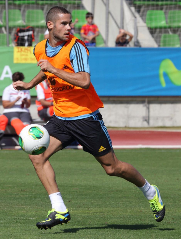 Mario Suárez, en el entrenamiento de la selección absoluta celebrado el miércoles 4 de septiembre en La Ciudad del Fútbol de Las Rozas