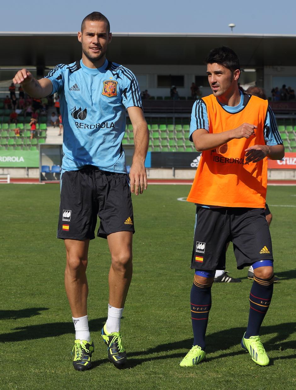 Mario Suárez y Villa, en el entrenamiento de la selección el miércoles 4 de septiembre en La Ciudad del Fútbol de Las Rozas