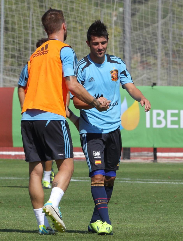 David Villa y Sergio Ramos en el entrenamiento de la selección el miércoles 4 de septiembre en La Ciudad del Fútbol