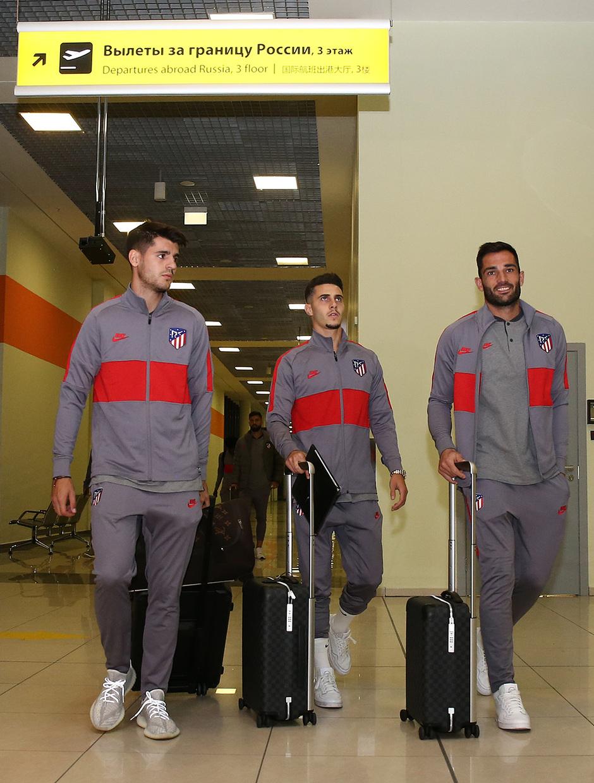 Temporada 19/20 | Lokomotiv - Atlético de Madrid | Llegada | Morata, Hermoso y Adán