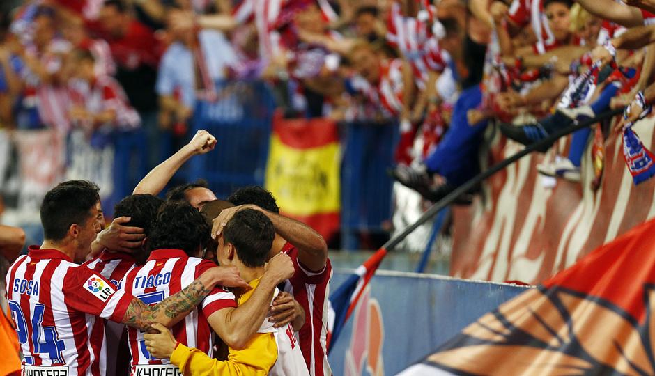 temporada 13/14. Partido Atlético de Madrid- Elche. Diego Costa celebración de gol
