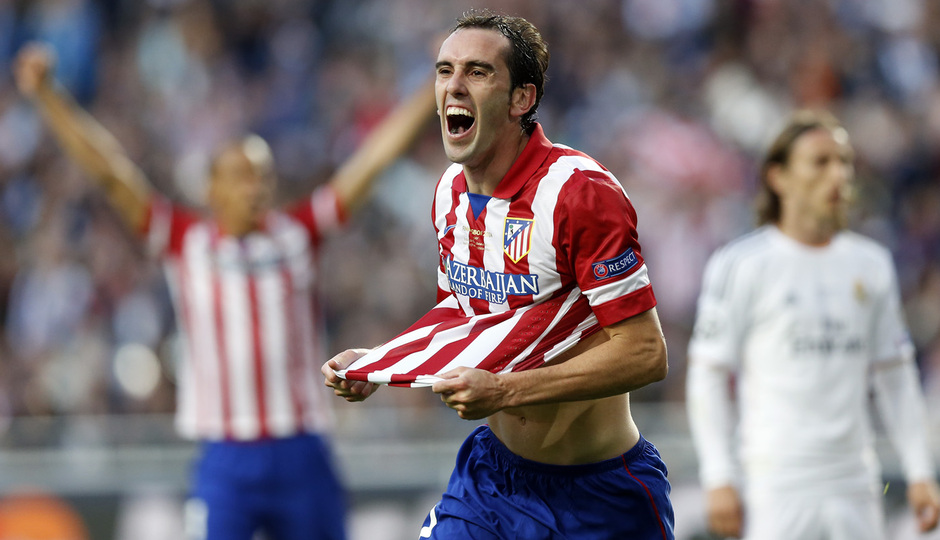 Final Champions League 2014. Real Madrid - Atlético de Madrid. Godín celebra el gol.