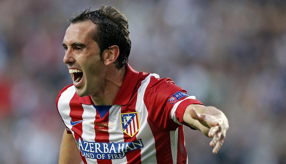 Final Champions League 2014. Real Madrid - Atlético de Madrid. Godín celebra el gol.