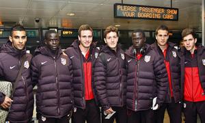UEFA Europa League 2012-13. Los siete canteranos que viajaron a Moscú con el primer equipo: Manquillo, Kader, Galass, Iván Calero, Borja Galán, Saúl y Ndoye