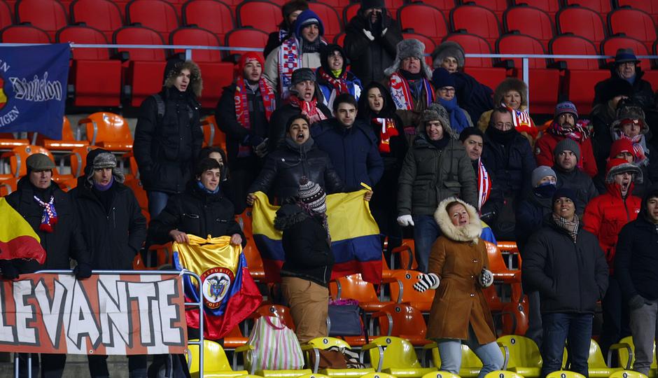 La afición rojiblanca no paró de animar a los suyos en la grada del estadio Luzhniki de Moscú.