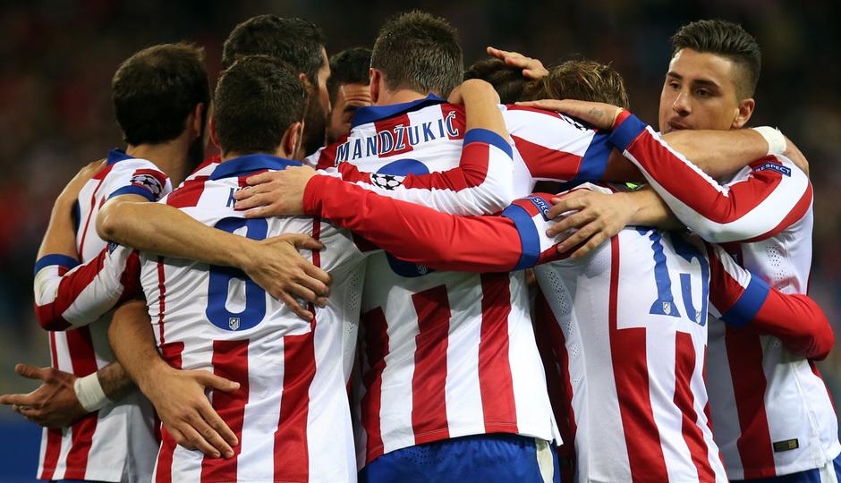 temporada 14/15. Partido Atlético de Madrid Olympiacos. Celebración durante el partido