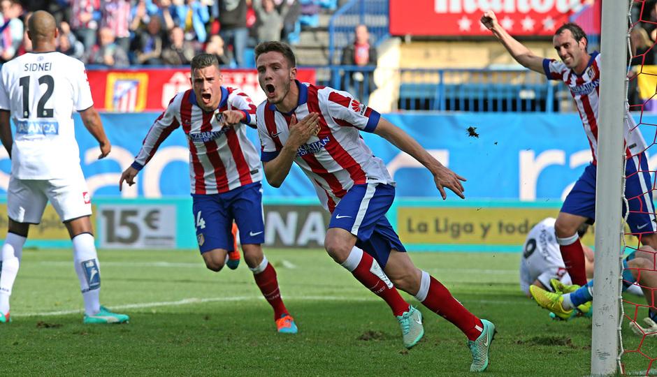 Temporada 14-15. Jornada 13. Atlético de Madrid-Deportivo. Saúl celebra su gol.