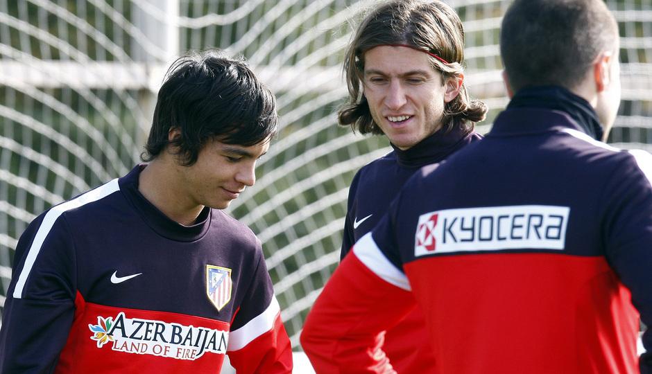 Óliver Torres, en una sesión de entrenamiento con la primera plantilla