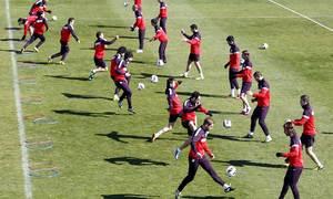Liga 2012-13. Grupo entrenando en Majadahonda antes del partido contra el Espanyol