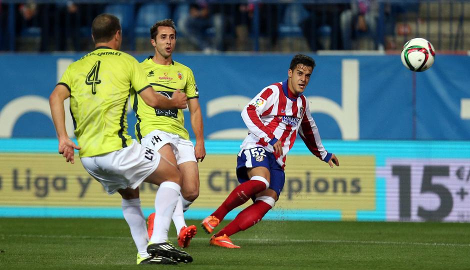 Temporada 14-15. 1/16 Copa del Rey. Atlético de Madrid-L'Hospitalet. El canterano Iván jugó como titular.