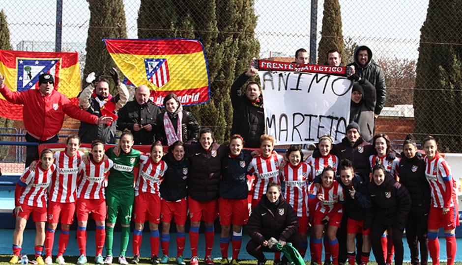 Aficionados del Atlético Féminas en el partido ante el Zaragoza