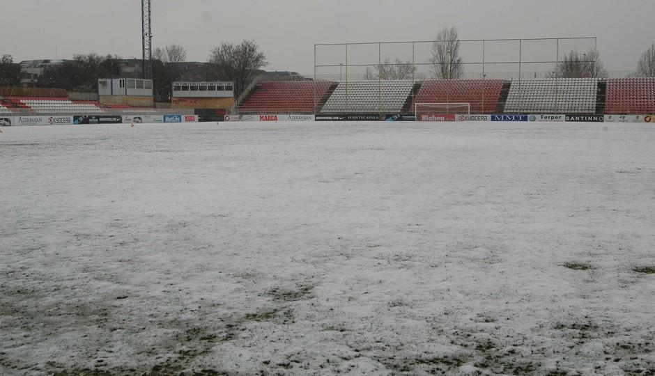 Gran nevada sobre el campo 1 de la Ciudad Deportiva