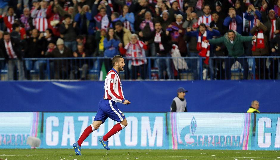 Atlético de Madrid - Bayer Leverkusen. Vuelta de octavos de final. Champions League. Mario Suárez celebra su gol