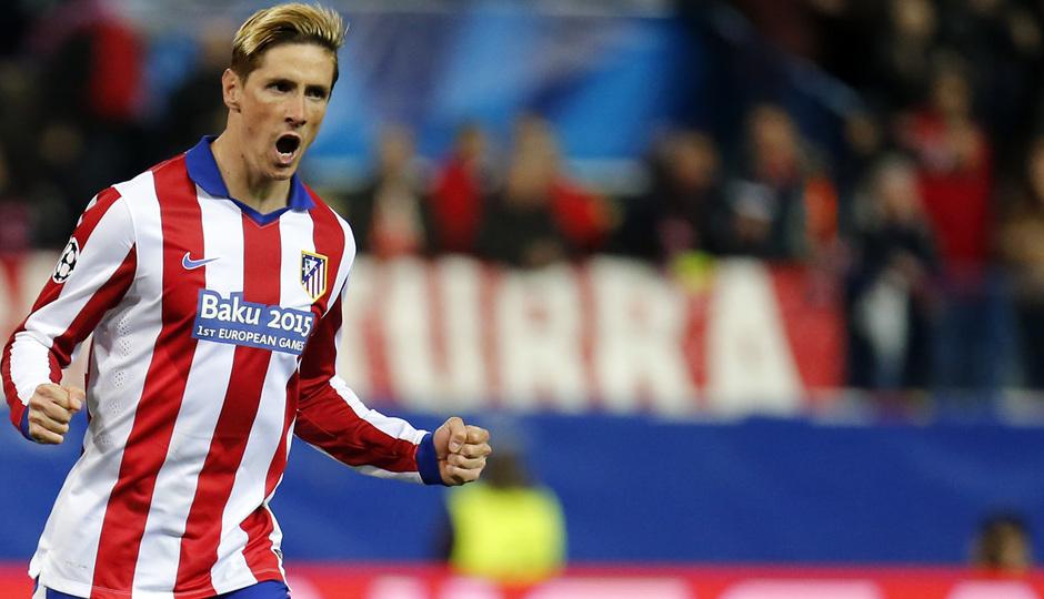 temporada 14/15. Partido Atlético Bayer de Champions. Torres celebrando durante el partido