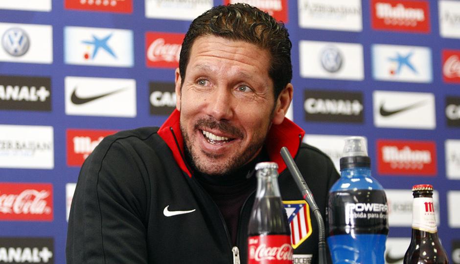 Simeone, durante la rueda de prensa en Majadahonda en la previa al partido de Liga contra el Málaga.
