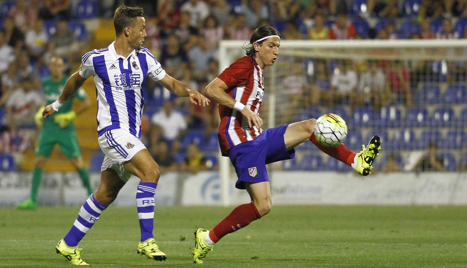 Partido amistoso Atlético de Madrid - Real Sociedad. El partido supuso el segundo estreno de Filipe Luis como rojiblanco