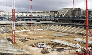 Vista general del estado de las obras del Nuevo Estadio desde la tribuna principal
