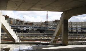 Vista del estado de las obras desde el acceso a la grada intermedia del Nuevo Estadio