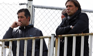 Temporada 12/13. Entrenamiento,Alfredo y Mena siguiendo el entrenamiento en el Cerro del Espino