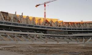 Nuevo estadio. Vista del lateral este desde el terreno de juego
