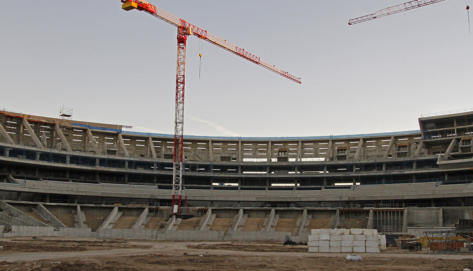 Nuevo estadio. Vista del fondo sur desde el terreno de juego
