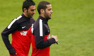 Temporada 12/13. Entrenamiento, Adrián y Mario corriendo en el entrenamiento en la Ciudad Deportiva de Majadahonda