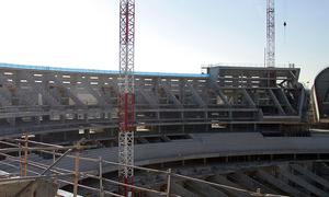 Nuevo estadio. Vista del fondo sur desde la grada alta
