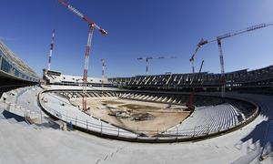 Nuevo estadio. Panorámica desde el córner suroeste de la grada media