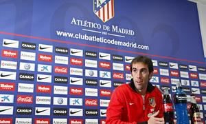 Diego Godín, en la rueda de Prensa previa al partido frente al Getafe