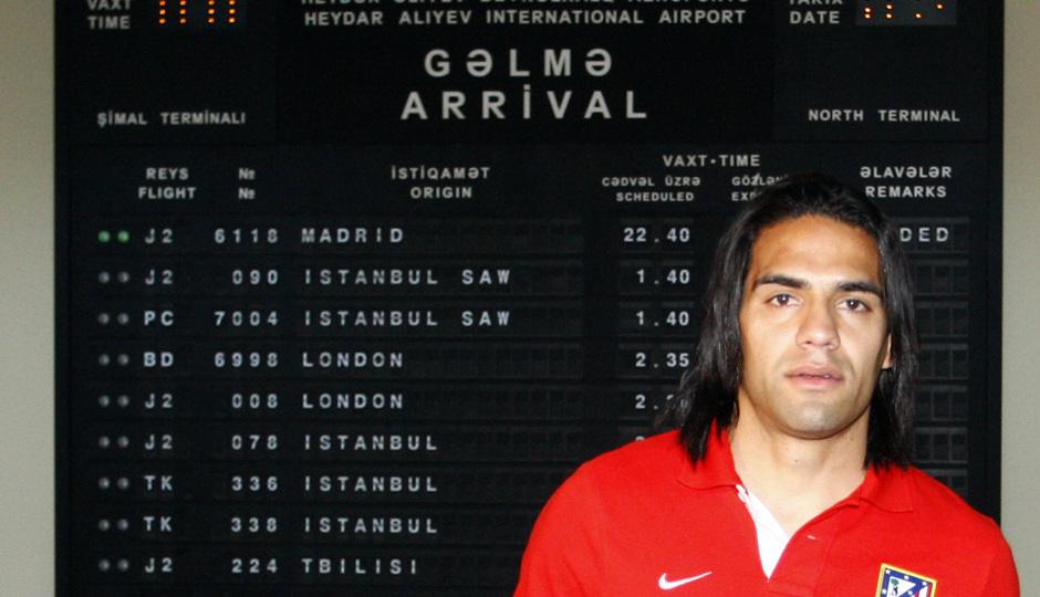 Radamel Falcao, a su llegada a Bakú