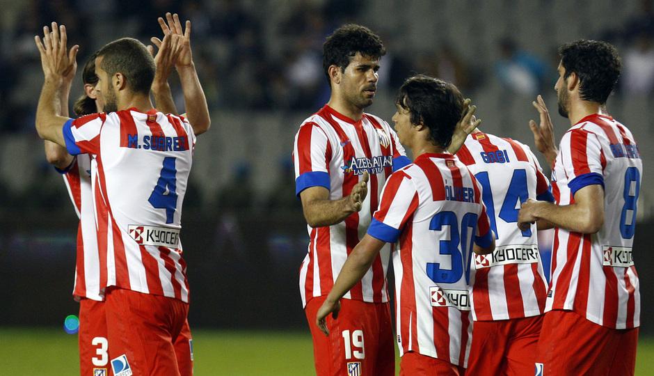 Temporada 2012-2013. Los jugadores celebran uno de los goles del encuentro