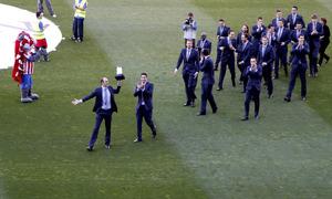 celebración balonmano en el Vicente Calderón