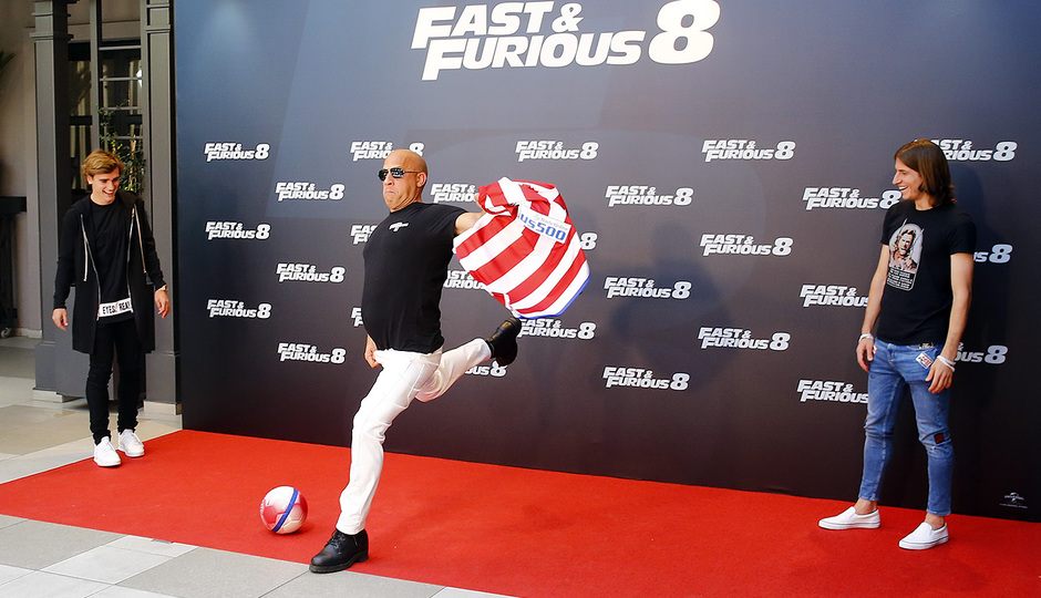 Temporada 16/17. Presentación de la película Fast & Furious 8. Filipe y Griezmann. Hotel Villamagna