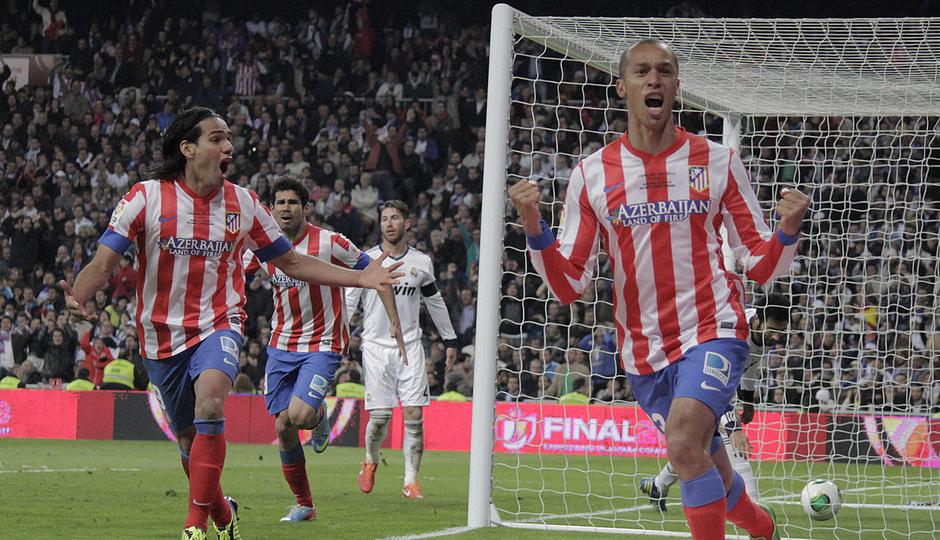 Temporada 12/13. Final Copa del Rey 2012-13. Real Madrid - Atlético de Madrid. Joao Miranda corre a celebrar su gol